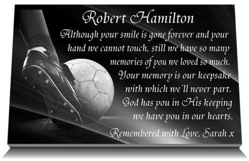 Soccer Gravestone Gift with football funeral poem engraved on granite