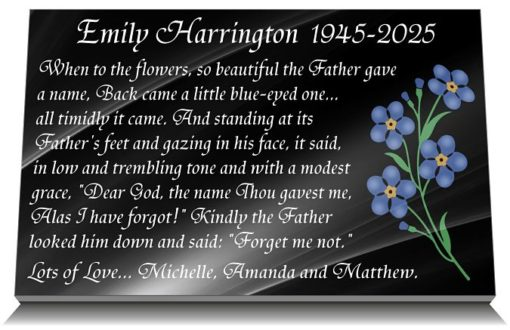 Mum Memorial Plaques with memorial poem and forget me not flowers painted blue
