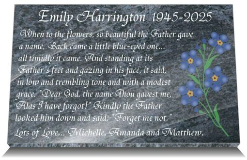 Mum Grave Plaques with forget me not flower and memorial poem