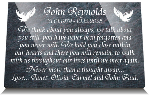 companion grave marker with two doves and personalised funeral poem