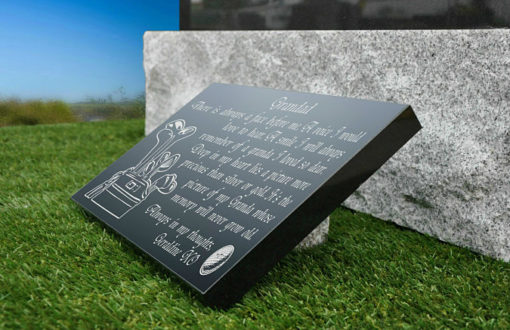 Golfer Grave plaque with golf clubs and Golf Ball