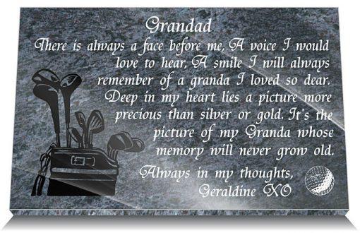 Golfer grave plaque with memorial poem