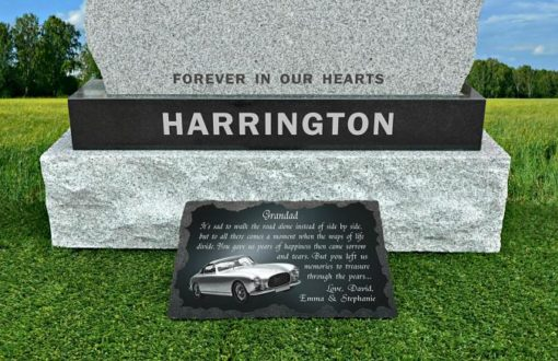 Grandfather Grave Ornaments with memorial verse engraved in granite