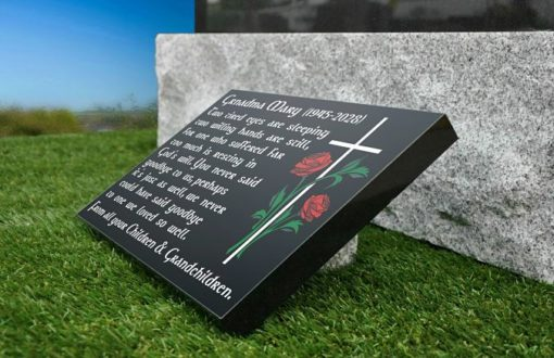 Black Granite Memorial Plaques with Grandmother Sympathy Message and memorial Poem