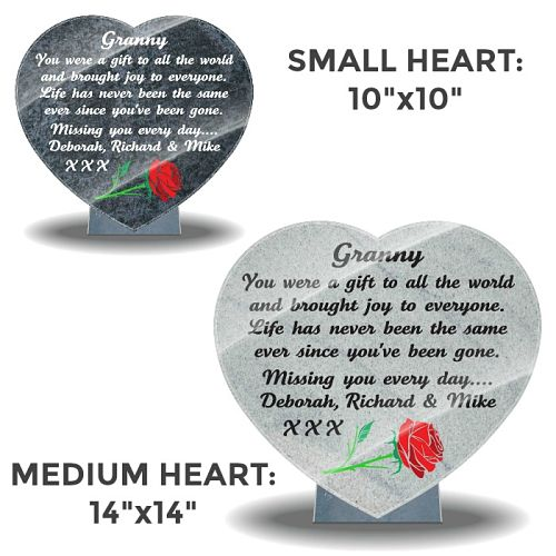 Granite memorial for Grandmother with red rose and memorial verse