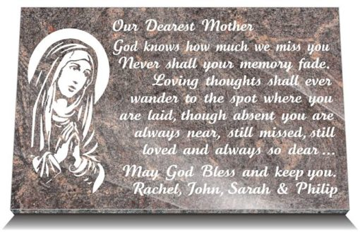 Mother Memorial Poem on Grave Plaque with Our Lady Image