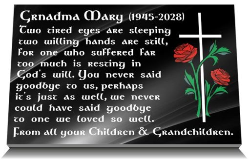 Black granite Memorial Plaque for Mother or Grandmother with personalized Memorial Poem