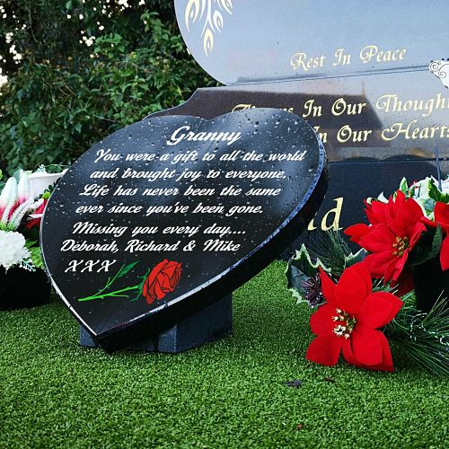 Granny Grave Plaques with rose and memorial poem