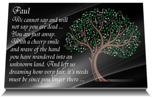 Friend Grave Plaque with Music Tree of life image