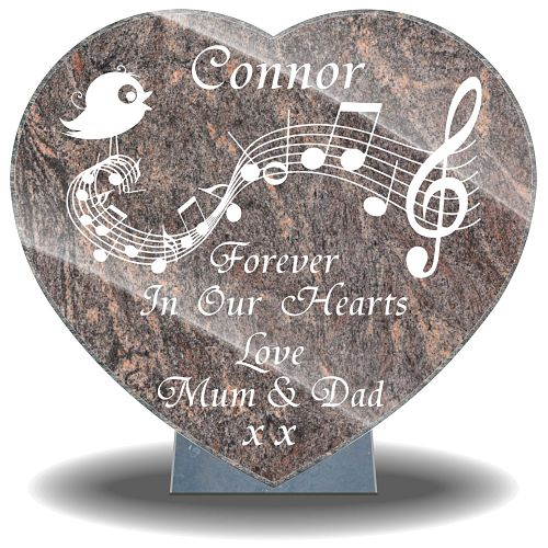 Heart-shaped granite plaques with music bird picture