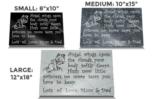 Baby Grave Memorial Plaques with Angels in clouds
