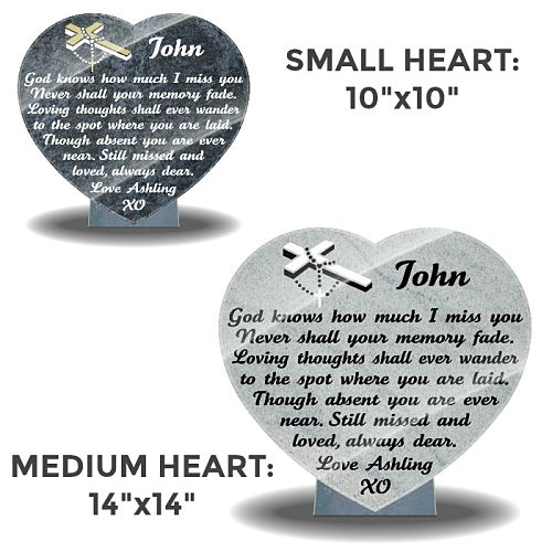 Granite Heart-Shaped Plaques for Graves