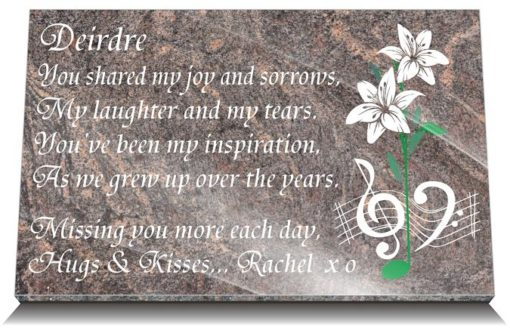 Music Memorial Gifts for Headstones with sister's tribute poem
