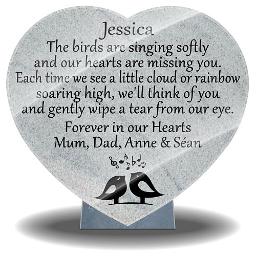 Headstone sympathy gifts for graves with bird singing memories images