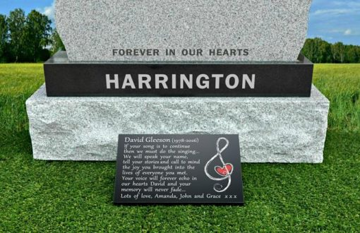 Musical Gravestone plaque with musical note with heart engraved in granite stone