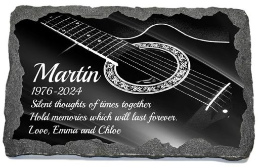 Guitar Grave Plaques with laser engraved string instruments images