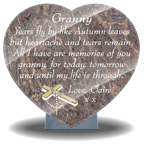Granny Memorial Plaques for graves with Memorial Poem