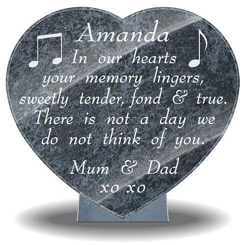 Daughter memorial gifts with memorial verse and music note images