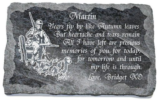 Hunter's Memorial Stone with Husband tribute verse