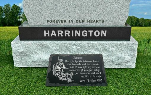 Hunter grave decorations made from Granite with personalized inscriptions and photo