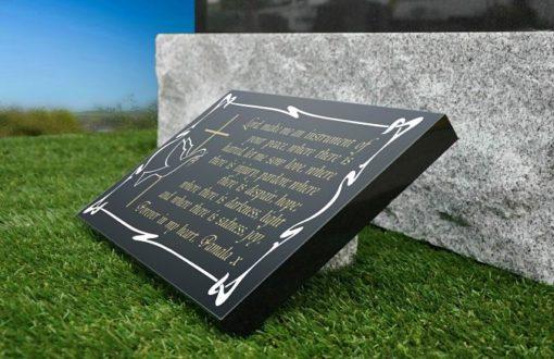 Black Granite Memorial Plaque Picture by Graveside