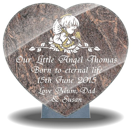 Heart-shaped angel design memorial plaque for child and baby grave