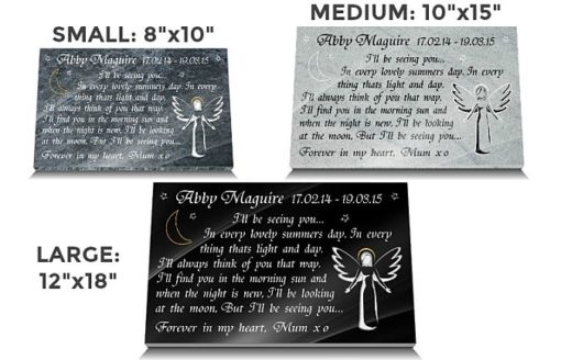 Angel plaques for infants with baby memorial poems
