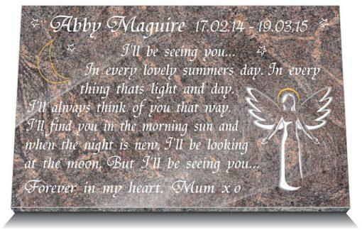 Infant angel memorials for graves