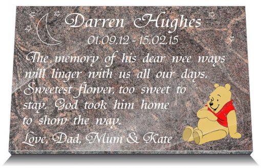 headstone souvenir with teddy bear and memorial verse