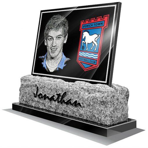 Ipswich town FC Memorial plaque for grave