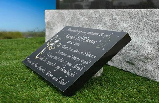 Little Baby Girl grave plaque with angel and memorial verse