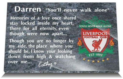 Personalised Liverpool FC Grave Plaque with Club emblem