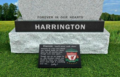 Grave Ornament for headstones for Liverpool football fan with Liverpool football crest