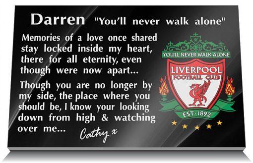 Liverpool Football Club Memorial Plaque