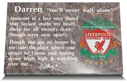 Liverpool grave plaque with personalised scouser memorial poem