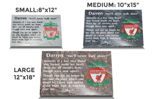 Liverpool football memorial plaques made from granite for headstones and gravestones