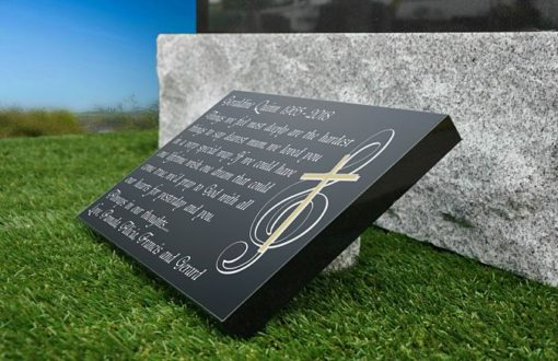 Music Note and Cross engraved on granite memorial plaque