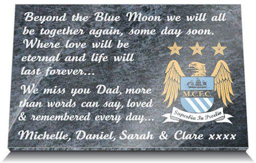 Manchester City Football Club Memorial Plaque
