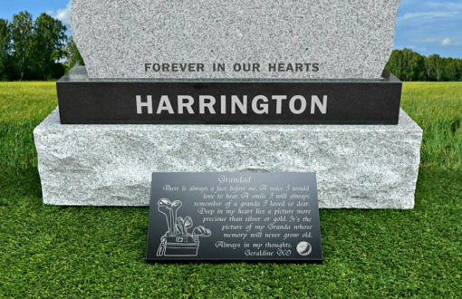 Eighteen Holes grave plaques for golfers with memorial poem