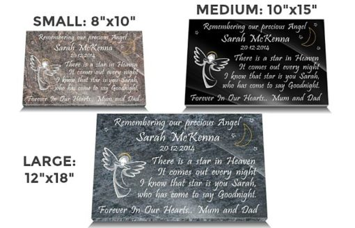 Angel Grave Marker with Memorial poem for baby girl