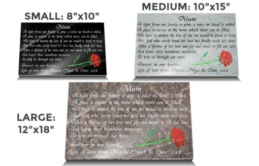 Mother Grave Markers made from Granite with Red Rose and Memorial Poem