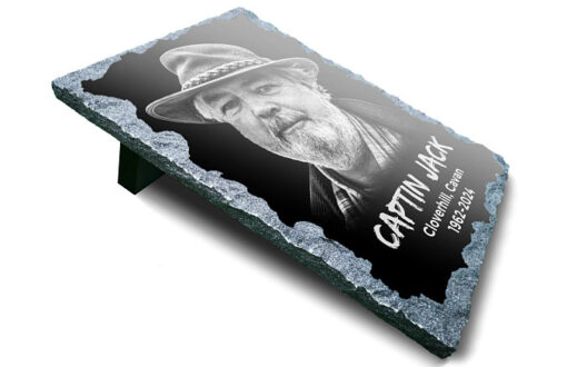 Memorial Portrait Plaque with father epitaph for headstone