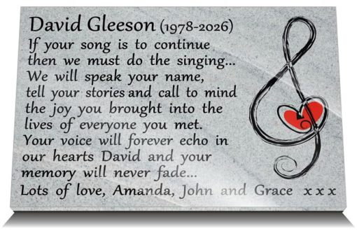 Music grave Plaques with funeral poems for musicians