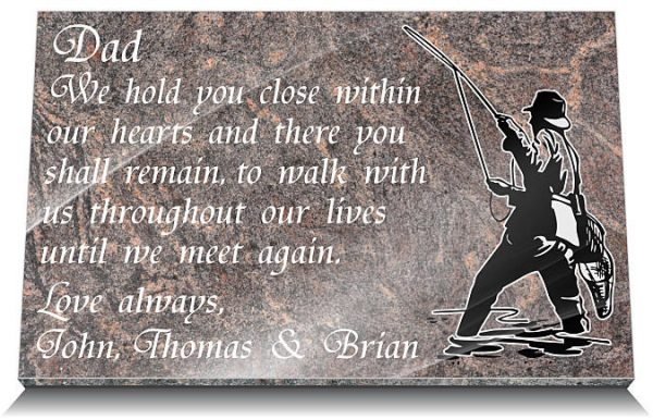 Fishermen memorial plaques for graves with personalized memorial poem