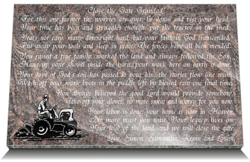 Personalized Grave plaques for farmers with memorial poem and farmer photo