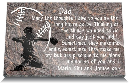 ballgame grave memorial with baseball catcher and memorial poem