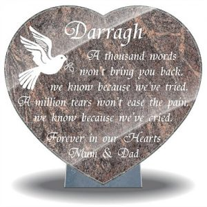 Grave plaque for loss of son with dove and memorial poem