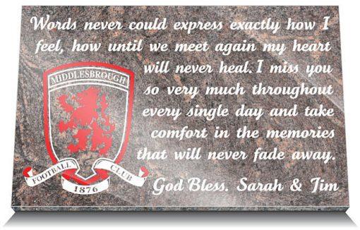 Middlesbrough Football Club Memorial Tablet