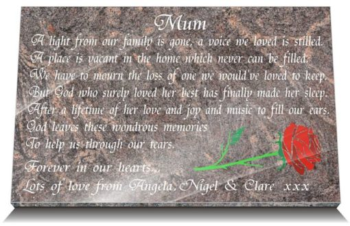 Mother's grave ideas with funeral poem and flowers
