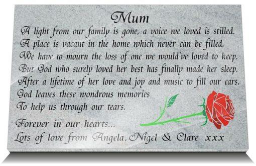 Granite Memorial Plaques with Rose and Memorial Verse